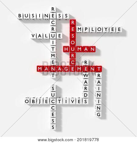 Crossword puzzle with HRM keywords human resource management concept 3D illustration flat design