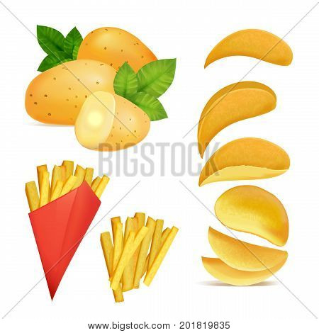 Vector illustrations of snacks or chips. Pictures in cartoon style of fried potato. Cartoon potato snack, fast food delicious tasty in paper box