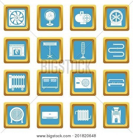 Heating cooling air icons set in azur color isolated vector illustration for web and any design