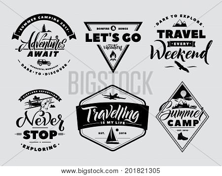 Labels set of adventure and nature explore. Outdoors camp and wildlife. Vector monochrome illustrations. Vintage traveling expedition logo and badge