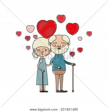 color crayon silhouette of caricature full body elderly couple embraced with floating hearts bearded grandfather in walking stick and grandmother with bun hair vector illustration