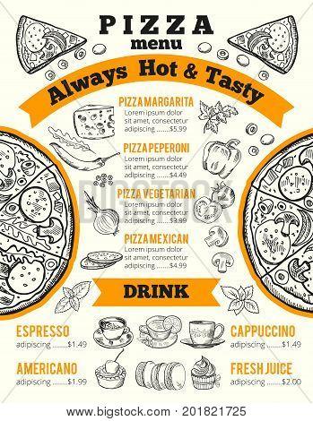 Design template for pizzeria menu. Vector monochrome illustration. Fresh juice, americano and cappuccino, mexican and vegetarian pizza