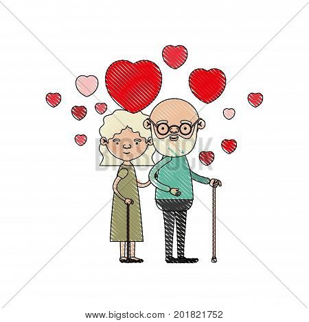 color crayon silhouette of caricature full body elderly couple embraced with floating hearts bearded grandfather in walking stick and grandmother with wavy hair vector illustration