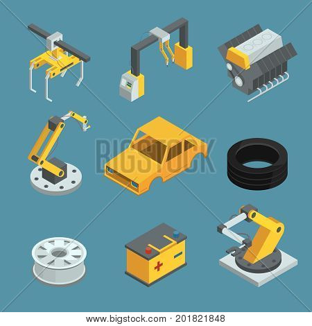 Car factory. Different technic for manufacturing process. Automated machinery line production. Industry robots. Vector isometric illustrations. Industry car production, machine conveyor