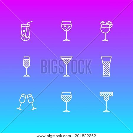 Editable Pack Of Cocktail, Champagne, Martini And Other Elements.  Vector Illustration Of 9 Drinks Icons.