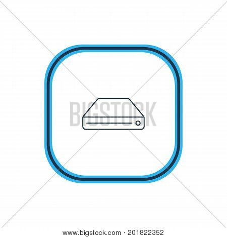 Beautiful Network Element Also Can Be Used As Hard Drive Disk Element.  Vector Illustration Of Sdd Outline.