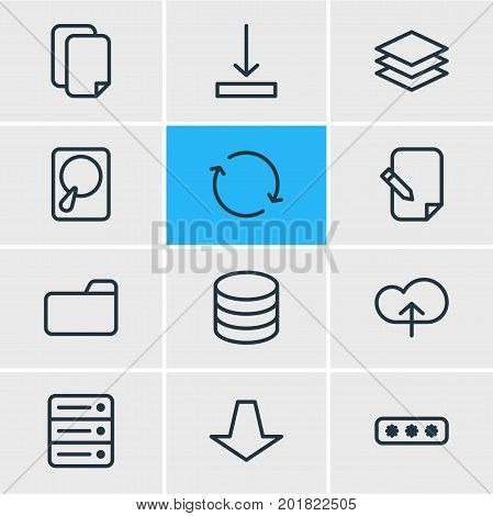 Editable Pack Of Downward, Download, Upload And Other Elements.  Vector Illustration Of 12 Archive Icons.