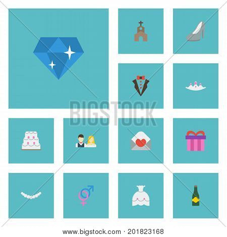 Flat Icons Building, Jewelry, Brilliant And Other Vector Elements
