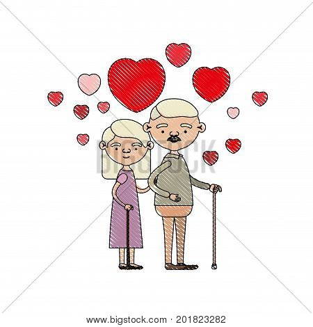 color crayon silhouette of caricature full body elderly couple embraced with floating hearts grandfather with moustache in walking stick and grandmother with straight hair vector illustration