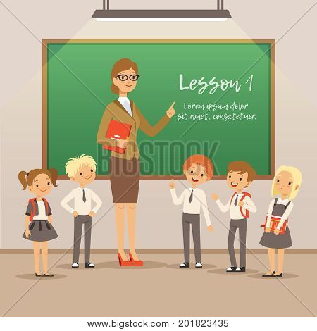 Children with teacher on the lesson in classroom. Vector school background. Education in classroom with teacher illustration