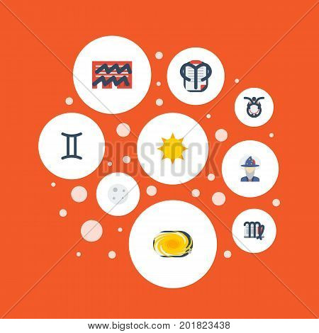 Flat Icons Ram, Virgin, Lunar And Other Vector Elements