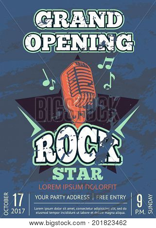 Retro karaoke club, audio record studio poster with shabby music logo with microphone and star on grunge texture. Banner grand opening with microphone illustration