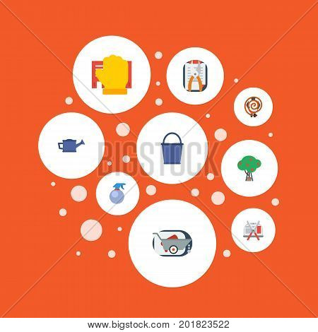Flat Icons Bucket, Spray Bottle, Garden Hose And Other Vector Elements