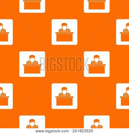 Orator speaking from tribune pattern repeat seamless in orange color for any design. Vector geometric illustration