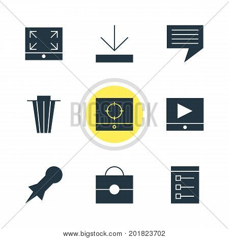 Editable Pack Of Thumbtack, Target Scope, Play Button And Other Elements.  Vector Illustration Of 9 Web Icons.