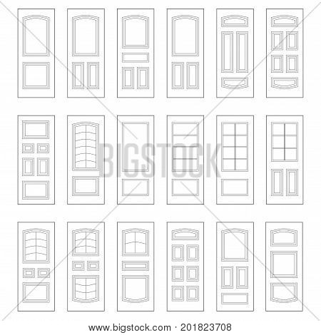 Big set of door ideas. Build your own design combination for web and for printing.