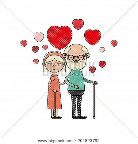 color crayon silhouette of caricature full body elderly couple embraced with floating hearts grandfather in walking stick and grandmother with bow lace and short hair vector illustration poster