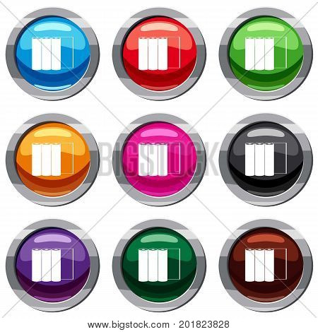 Rolls of paper set icon isolated on white. 9 icon collection vector illustration
