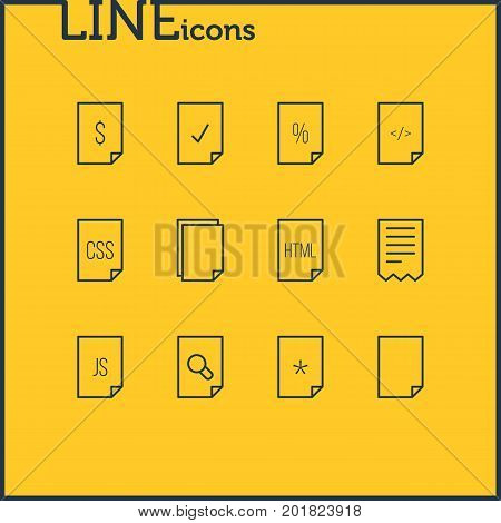 Editable Pack Of Search, Done, Script And Other Elements.  Vector Illustration Of 12 Paper Icons.