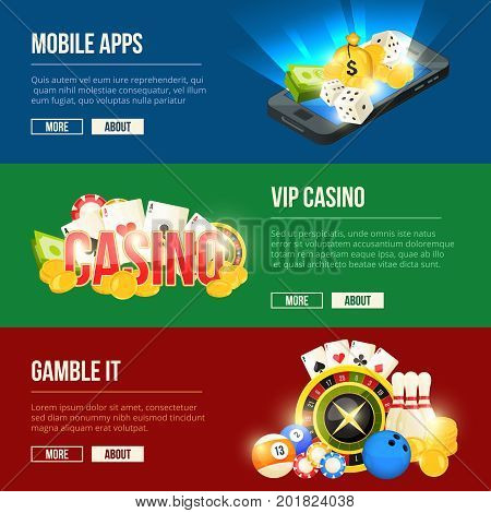 Colorful icons set of different casino entertainments. Vector banners set with place for your text. Gamble vip casino banner, mobile app gambling illustration