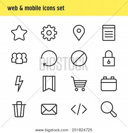 Editable Pack Of Reload, Magnifier, Document And Other Elements.  Vector Illustration Of 16 Annex Icons.