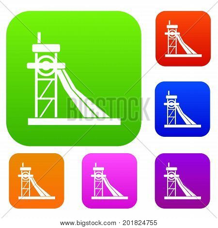 Equipment for washing rocks set icon in different colors isolated vector illustration. Premium collection