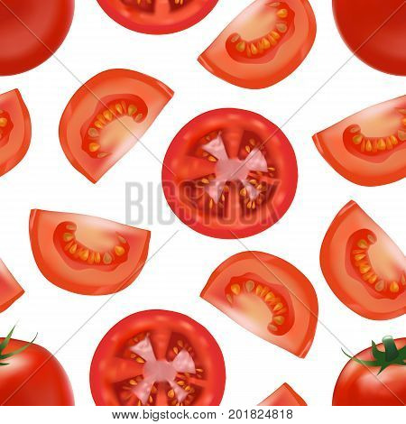 Realistic Detailed Red Tomato and Segment Parts Background Pattern Fresh Healthy Vegetable for Restaurant, Shop or Store. Vector illustration