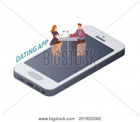Mobile Dating app concept. Young couple, man and woman on a romantic date on the smartphone screen. A romantic dinner in the restaurant. Vector illustration, isolated on white background.