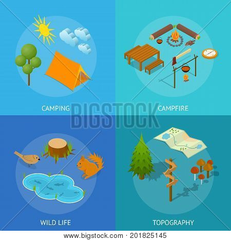 Camping Wild Life, Topography and Campfire Poster Card Set Active Leisure Concept Isometric View. Vector illustration