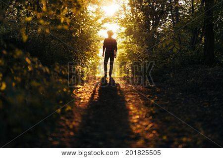 Silhouette of man on wild pathway in woods posing in bright back lit.
