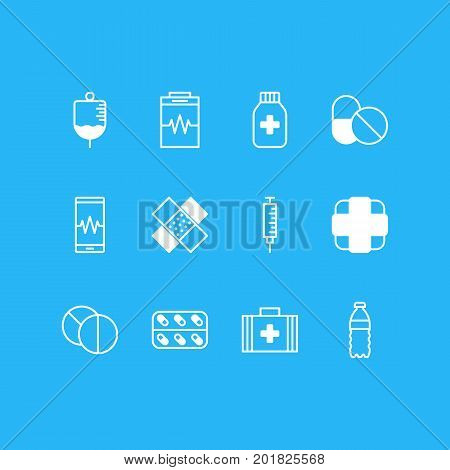 Editable Pack Of Medical Bag, Antibody, Plastic Bottle And Other Elements.  Vector Illustration Of 12 Health Icons.