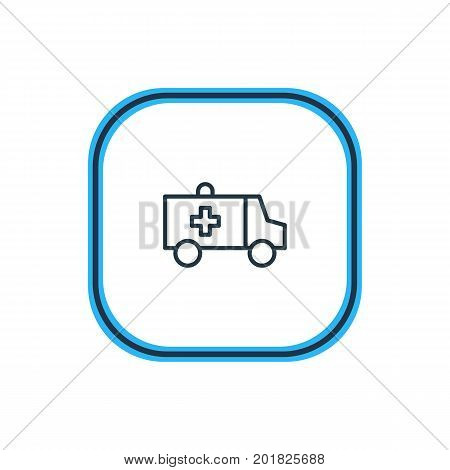 Beautiful Necessity Element Also Can Be Used As First-Aid   Element.  Vector Illustration Of Ambulance Outline.