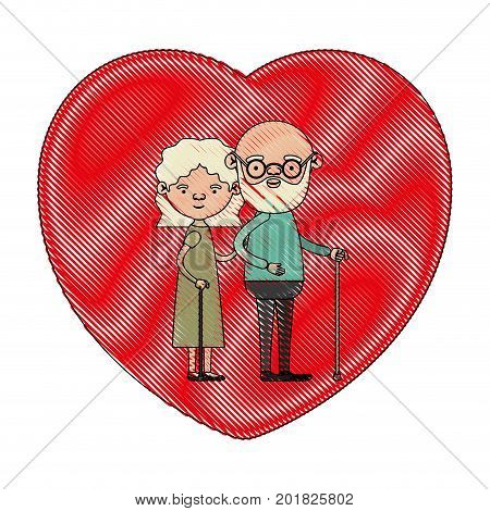 color crayon silhouette of heart shape greeting card with caricature full body elderly couple embraced bearded grandfather in walking stick and grandmother with wavy hair vector illustration