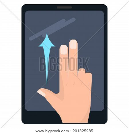 Flick up with two fingers touch screen gesture on tablet vector illustration. Flat style design. Colorful graphics