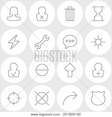 Editable Pack Of Female User, Screen Capture, Guard And Other Elements.  Vector Illustration Of 16 Interface Icons.