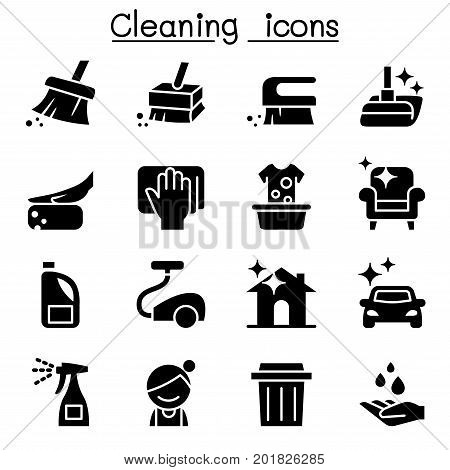 Cleaning icons set vector illustration graphic design