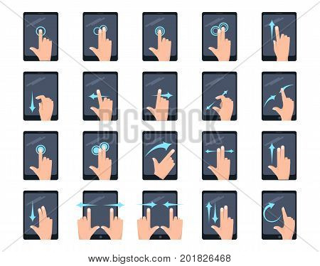 Multitouch screen hand gestures on tablet elements collection, flat icons set, Colorful symbols pack contains - tap scroll click flick rotate pinch zoom hold drag. Vector illustration. Flat style design