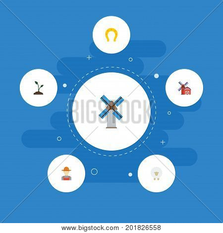 Flat Icons Talisman, Grower, Sprout And Other Vector Elements