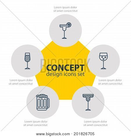 Editable Pack Of Beverage, Champagne, Draught And Other Elements.  Vector Illustration Of 5 Beverage Icons.