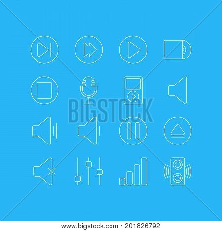 Editable Pack Of Compact Disk, Mp3, Mike And Other Elements.  Vector Illustration Of 16 Music Icons.