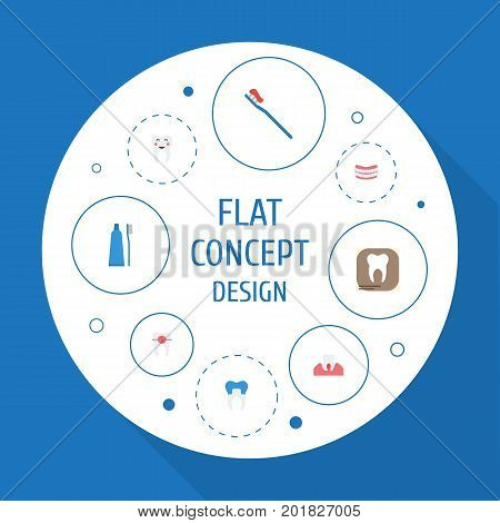 Flat Icons Brace, Artificial Teeth, Radiology And Other Vector Elements