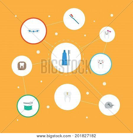 Flat Icons Dentition, Halitosis, Decay And Other Vector Elements