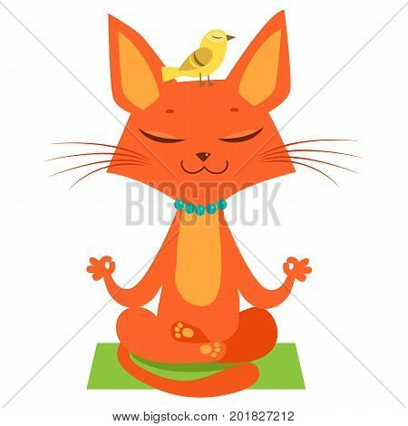 Meditating Yoga Cat Vector. Funny Cartoon Cat Practicing Yoga. Join In Yoga Session. Cute Cartoon Cat In Yoga Lotus Pose. Meditation Session Vector.