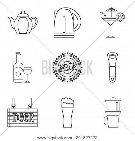 Drunken binge icons set. Outline set of 9 drunken binge vector icons for web isolated on white background