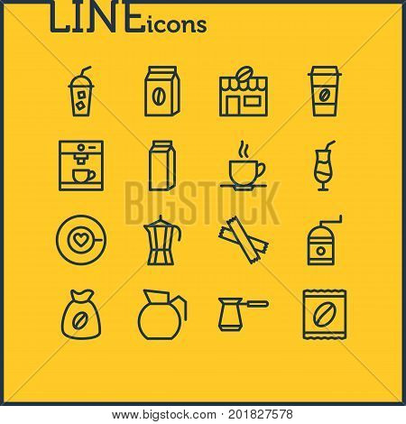 Editable Pack Of Decanter, House, Cup And Other Elements.  Vector Illustration Of 16 Java Icons.