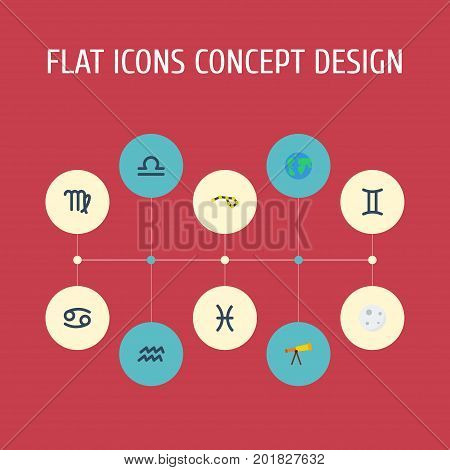 Flat Icons Horoscope, Virgin, Fishes And Other Vector Elements