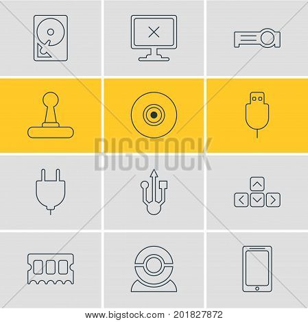 Editable Pack Of Serial Bus, Access Denied, Memory Chip And Other Elements.  Vector Illustration Of 12 Laptop Icons.