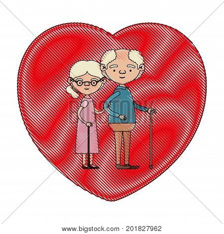 color crayon silhouette of heart shape greeting card with caricature full body elderly couple embraced grandfather in walking stick and grandmother with collected hair and glasses vector illustration