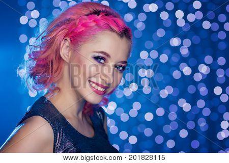beauty woman portrait on light ball bokeh background