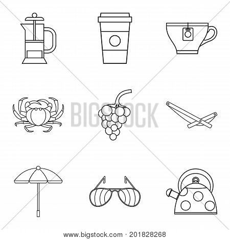 Snack to alcohol icons set. Outline set of 9 snack to alcohol vector icons for web isolated on white background